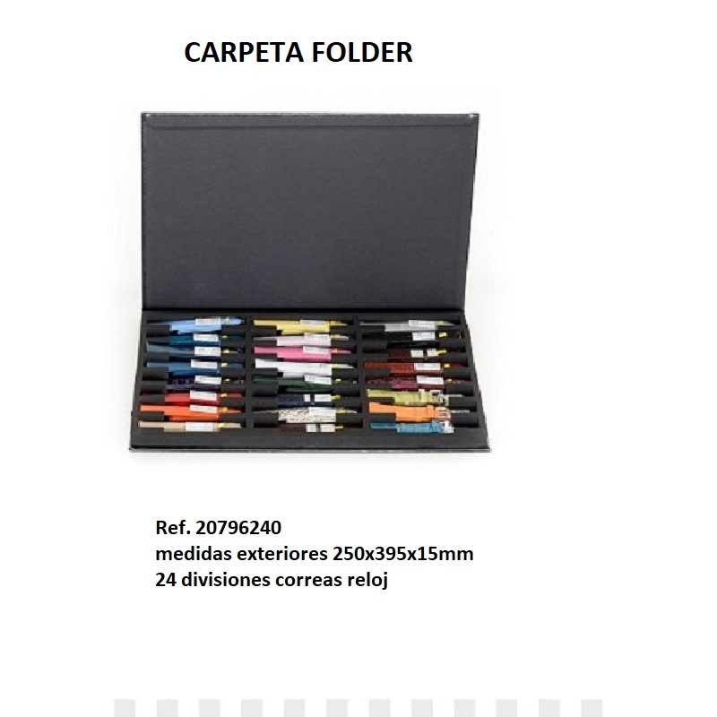 Muestrario Folder 24 correas reloj 250x395x15 mm.